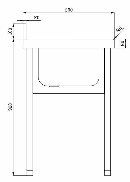 Fregadero con bastidor fondo 600 for Dimensiones fregadero
